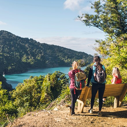 Three people at a bench and viewpoint on the northern Queen Charlotte Track, overlooking Ship Cove/Meretoto in the Marlborough Sounds, New Zealand.