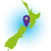 NZ green map with purple arrow on Marlborough.