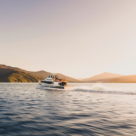 A Cougar Line boat creates a wake as it cruises into the Marlborough Sounds in the early morning, transferring passengers to the Queen Charlotte Track, New Zealand