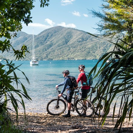Mountain bikers stop on a beach on the northern Queen Charlotte Track in the Marlborough Sounds, New Zealand.