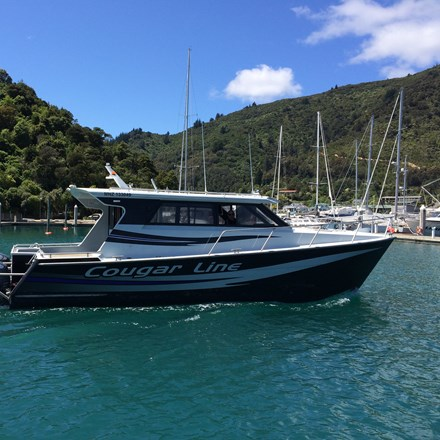 Cougar Line's Sounds Discovery in Picton Marina, in New Zealand's Marlborough Sounds