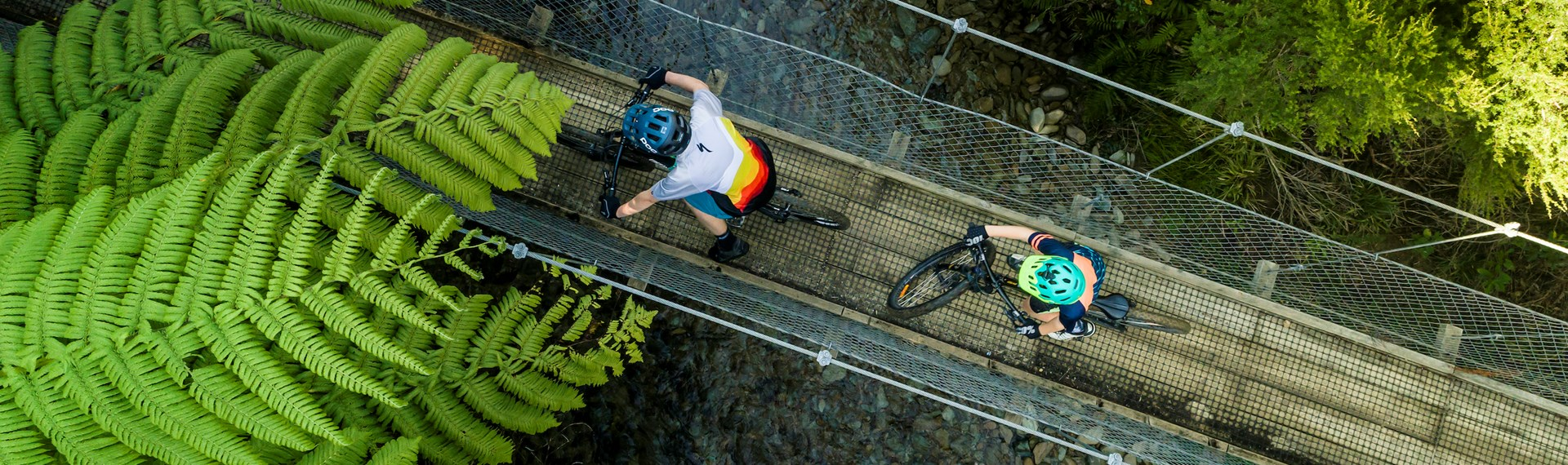 Two mountain bikers cross a swing bridge on the northern Queen Charlotte Track in the Marlborough Sounds, New Zealand.