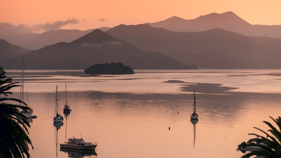 he view from Picton at sunrise over Queen Charlotte Sound/Tōtaranui, with orange skies and water in the Marlborough Sounds, New Zealand.